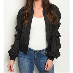 Black Pleated Sleeve Wind Break Bomber